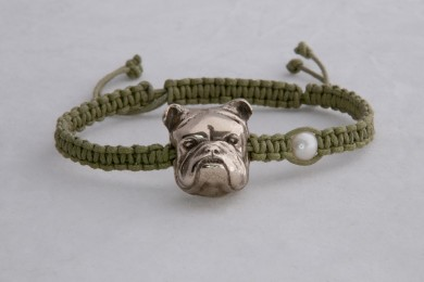 Bracelet Buldog, white bronze metal clay
