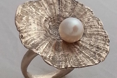 Ring white bronze metal clay & pearl