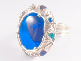 Blue Glass Stone Ring by Meropi Toumbas