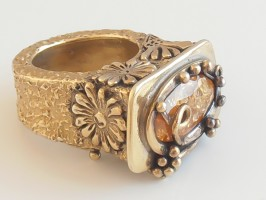 Citrine  Box Ring by Meropi Toumbas