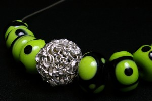 Art Clay Silver and lampwork beads by Inge Verbruggen